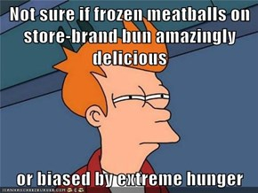 Not sure if frozen meatballs on store-brand bun amazingly delicious  or biased by extreme hunger