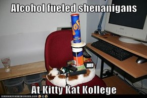 Alcohol fueled shenanigans  At Kitty Kat Kollege