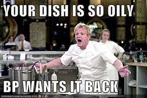 YOUR DISH IS SO OILY  BP WANTS IT BACK