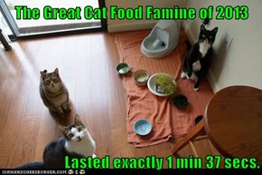 The Great Cat Food Famine of 2013  Lasted exactly 1 min 37 secs.