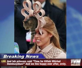 "Breaking News - And teh princess said ""Time for Kitteh Whirled Dominayshun!"" And we live happy ever after, srsly."