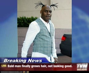 Breaking News - Bald man finally grows hair, not looking good.