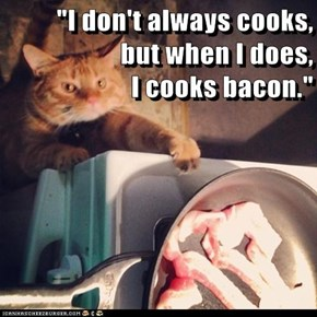 """I don't always cooks,                  but when I does,                                                        I cooks bacon."""