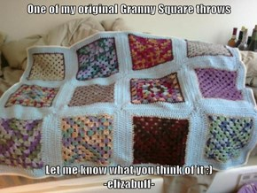 One of my original Granny Square throws  Let me know what you think of it :)                                                                                         -elizabuff-