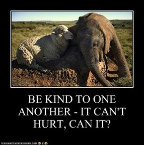 BE KIND TO ONE ANOTHER - IT CAN'T HURT, CAN IT?