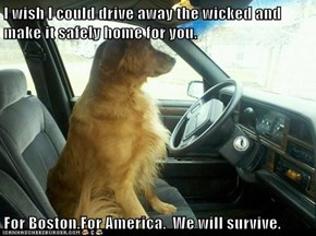 I wish I could drive away the wicked and make it safely home for you.   For Boston.For America.  We will survive.