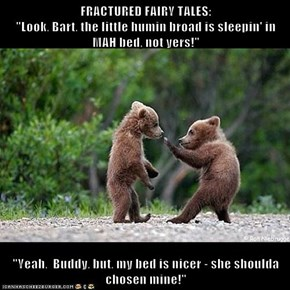"FRACTURED FAIRY TALES:                                                                                             ""Look, Bart, the little humin broad is sleepin' in MAH bed, not yers!""  ""Yeah,  Buddy, but, my bed is nicer - she shoulda chosen mine!"""