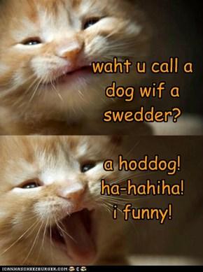 waht u call a dog wif a swedder?  a hoddog! ha-hahiha! i funny!