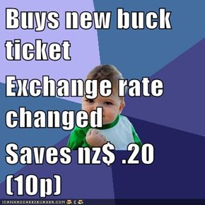 Buys new buck ticket Exchange rate changed Saves nz$ .20 (10p)
