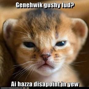 Genehwik gushy fud?  Ai hazza disapoint in yew