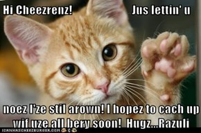 Hi Cheezrenz!                         Jus lettin' u  noez I'ze stil arown! I hopez to cach up wif uze all bery soon!  Hugz...Razuli