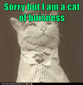 Sorry but I am a cat of buisness