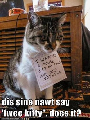 "dis sine nawt say 'fwee kitty"", does it?"