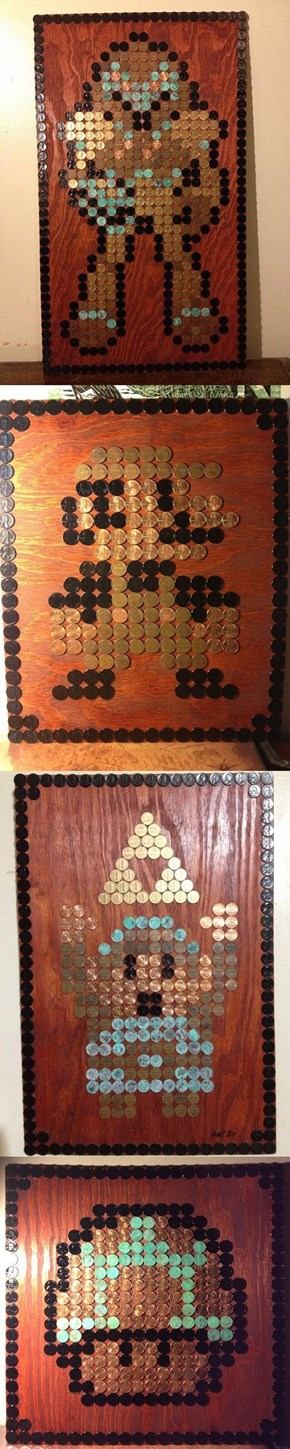 8-Bit Art Made With Pennies