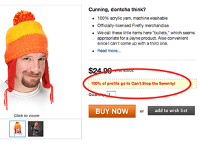 ThinkGeek Donates Jayne Hat Proceeds After Fox Shuts Down the Little Guys