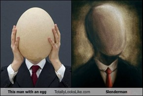 This man with an egg Totally Looks Like Slenderman