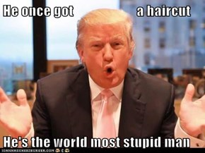 He once got                       a haircut  He's the world most stupid man
