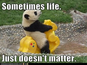 Sometimes life.  Just doesn't matter.