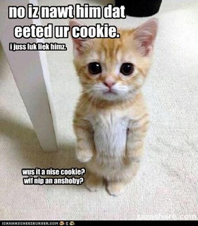 no iz nawt him dat eeted ur cookie.