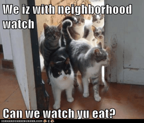 We iz with neighborhood watch  Can we watch yu eat?
