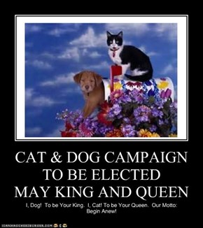 CAT & DOG CAMPAIGN TO BE ELECTED           MAY KING AND QUEEN