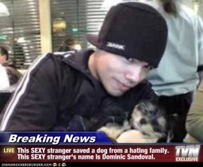Breaking News - This SEXY stranger saved a dog from a hating family. This SEXY stranger's name is Dominic Sandoval.
