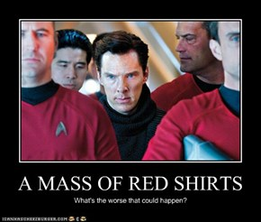 A MASS OF RED SHIRTS
