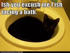 Ish you excush me I ish tacing a bath.