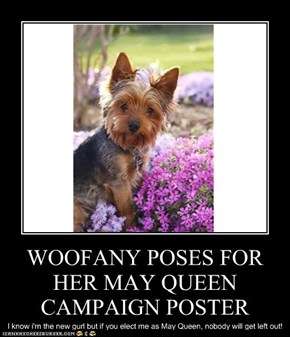 WOOFANY POSES FOR HER MAY QUEEN CAMPAIGN POSTER