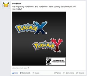 Big Pokémon X and Pokémon Y News Tomorrow!