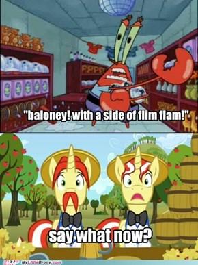 mmmm. baloney and flim flam.