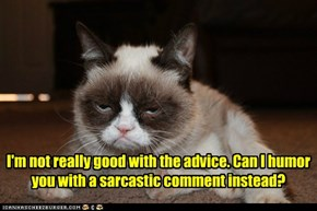 I'm not really good with the advice. Can I humor you with a sarcastic comment instead?