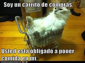 Soy un carrito de compras.   Usted está obligado a poner comida en mí.