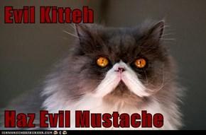 Evil Kitteh  Haz Evil Mustache