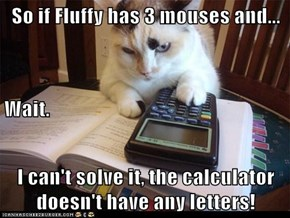 So if Fluffy has 3 mouses and... Wait. I can't solve it, the calculator doesn't have any letters!