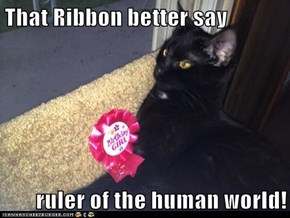 That Ribbon better say  ruler of the human world!