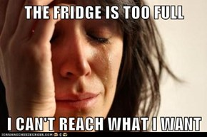 THE FRIDGE IS TOO FULL  I CAN'T REACH WHAT I WANT