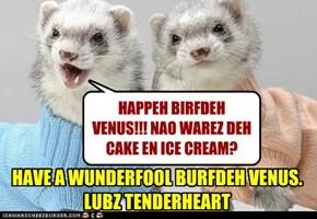HAPPEH BIRFDEH VENUS!!! NAO WAREZ DEH  CAKE EN ICE CREAM?