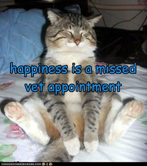 happiness is a missed vet appointment