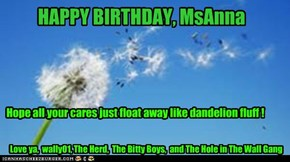 HAPPY BIRTHDAY, MsAnna