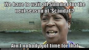 We have to wait all Summer for the next season of 'Scandal'?  Ain't nobody got time for that