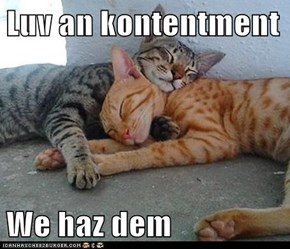 Luv an kontentment  We haz dem