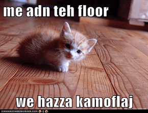 me adn teh floor  we hazza kamoflaj