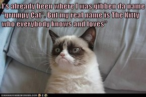 "I's already been where I was gibben da name ""grumpy Cat"". But my real name is The Kitty who everybody knows and loves"""