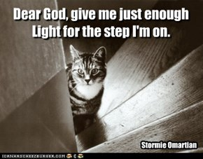 Dear God, give me just enough Light for the step I'm on.