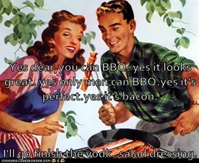 Yes dear,you can BBQ. yes it looks great. yes only men can BBQ.yes it's perfect.yes it's bacon. I'll go finish the vodk..salad dressing.