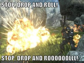 STOP, DROP AND ROLL!  STOP, DROP AND ROOOOOOLLL!
