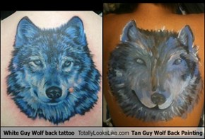 White Guy Wolf back tattoo Totally Looks Like Tan Guy Wolf Back Painting