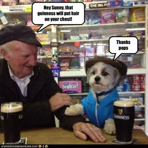 Hey Sunny, that guinness will put hair on your chest!