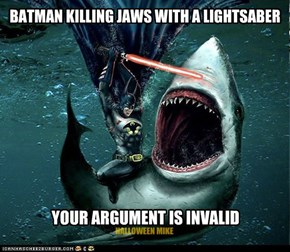 Batman killing Jaws with a Lightsaber!